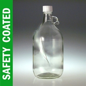 Safety Coated Clear Glass Jugs, 2.5 liter, No Caps, case/6