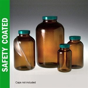 Safety Coated Amber Wide Mouth Packer Bottles, 250mL (8 oz), No Caps, case/24