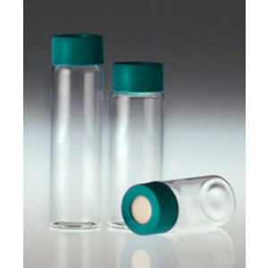 40mL Clear Borosilicate Glass Vials with 27.75 x 95, 24-400 Green PP Hole Cap & PTFE/Silicone Septa, case/144