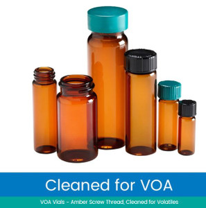 20mL Amber Glass Vials, Hole Cap, PTFE/Silicone Septa, Cleaned & Certified for Volatiles, case/80