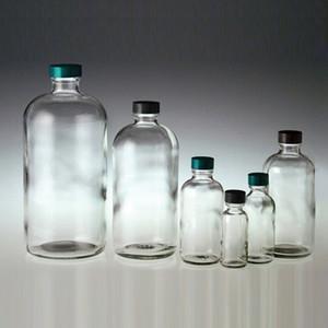 1 oz Glass Boston Round Bottles, 20-400 Black Phenolic Pulp/Vinyl Lined Caps, case/48