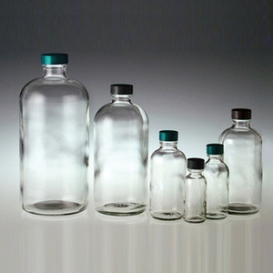 Clear Glass Boston Round Bottles, 2 oz, Green PTFE Lined Caps, case/24