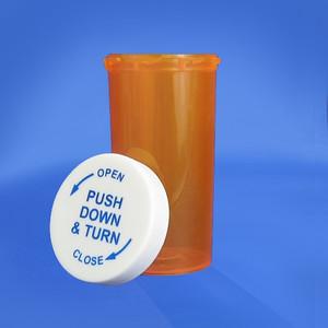 Amber Pharmacy Vials, Child Resistant Cap, 40 dram (148mL), case/180
