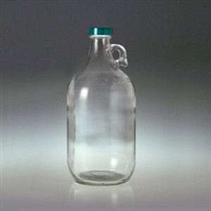 Clear Glass Jugs, 2 liter with 38-400 Green Thermoset F217 & PTFE Lined Cap, case/6