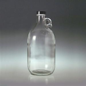 Clear Glass Jugs, 64 oz (2 liter), 38-400 Black Phenolic Pulp/Vinyl Lined Cap, case/6