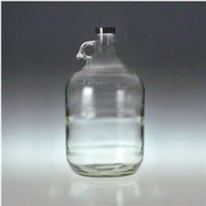 Clear Glass Jugs, 4 liter with 38-400 Black PP Cap & PTFE Disc, case/4