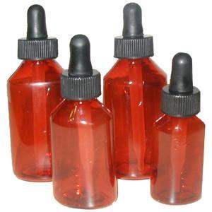 Amber Plastic Dropper Bottles, Round PP, 2 oz (60mL), case/96