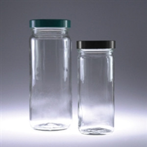 Clear Tall Straight Sided Jars, 8 oz, Black Vinyl Lined Caps, case/24