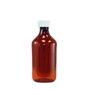 Amber Oval Pharmacy Bottle, Child Resistant Cap, 12 oz, case/100