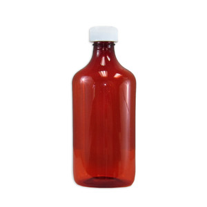Amber Oval Pharmacy Bottles, Child Resistant Caps, 16 oz, case/50