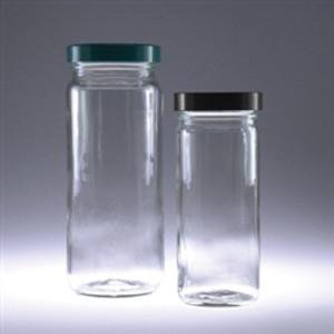 Clear Tall Glass Jars, 16 oz, Black Vinyl Lined Cap, case/12