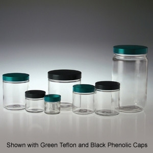 Clear Glass Jars, 32 oz, Black Aluminum Foil Lined Caps, 32 oz, case/12