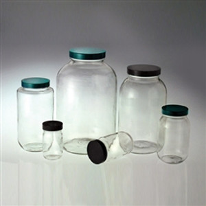 Clear Glass Wide Mouth Bottles, 4 liter, 89-400 Green Thermoset F217 & PTFE Lined Cap, case/4