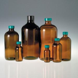 Amber Boston Round Bottles, 2 oz, Green PTFE Lined Caps, case/24