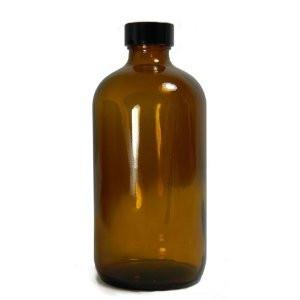 32 oz Amber Glass Boston Round, 33-400 Phenolic Cone Lined Cap, case/12