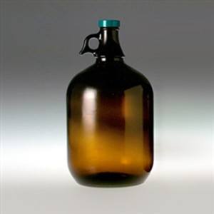 Amber Glass Jugs, 4 liter with 38-400 Green Thermoset with F217 & PTFE Lined Cap, case/6