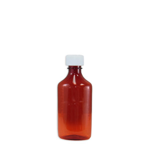 Amber Oval Pharmacy Bottles, Child Resistant Caps, 6 oz, case/100