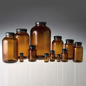 Amber Wide Mouth Packer Bottles, 60mL with 33-400 Black Phenolic Cone Lined Caps, case/24