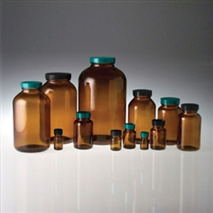 Amber Wide Mouth Packer Bottles, 500mL, Black Vinyl Lined Caps, case/12