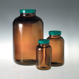 Amber Wide Mouth Packer Bottles, 32 oz with Green Thermoset F217 & PTFE Lined Caps, case/12