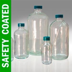Safety Coated Boston Round Bottles, 8 oz, PTFE Lined Caps, case/24