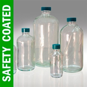 Safety Coated Boston Round Bottles, 16 oz, PTFE Lined Caps, case/12