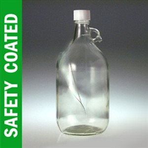 Safety Coated Jugs, 2500mL, White HDPE Foam Lined Caps, case/6