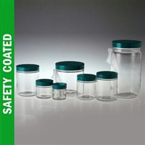 Safety Coated Glass Jars, 8 oz, Black Vinyl Lined Caps, case/24