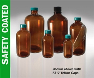 Safety Coated Amber Bottles, 8 oz, Green PTFE Lined Caps, case/24