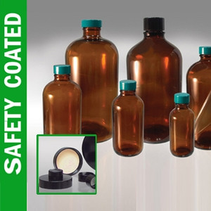 Safety Coated Amber Bottle, 16 oz with Black Phenolic Rubber Lined Caps, case/12