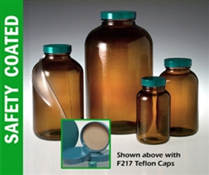Safety Coated Amber Wide Mouth, 250mL with Green Thermoset F217 & PTFE Lined Caps, case/24