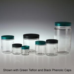Clear Glass Jars, 6 oz, Black Aluminum Foil Lined Caps, case/24