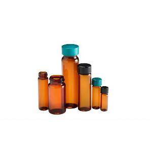 Amber Glass Vials, 20mL, Black Caps, PTFE Disc, case/144