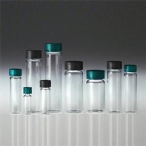 Clear Borosilicate Glass Vials, 40mL, Caps, PTFE Disc, case/144