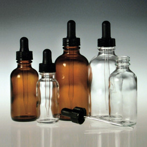 Clear Glass Dropper Bottles, 1 oz with Glass Dropper Assembly, case/48