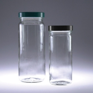 Safety Coated Graduated Glass Jar, 16 oz with 63-400 Green Thermoset F217 & PTFE Lined Cap, case/12