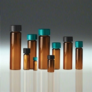 Amber Glass Vials, 15mL with Green Thermoset F217 & PTFE Lined Caps, Vacuum/ Ionized, case/144