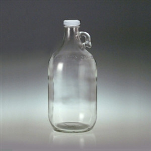Clear Glass Jugs, 64 oz 38-400 White Metal Pulp/PE Lined Cap, case/6