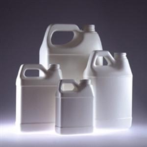 White HDPE F-Style Jugs, 128 oz, 38-400 neck finish, No Caps, case/6