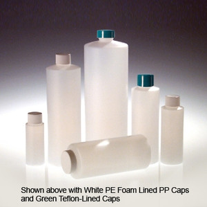 32 oz Cylinder Bottles, HDPE with 28-400 Green PTFE Lined Caps, 32 oz, case/12