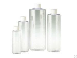 Clear PVC Cylinder Bottles, 20-410 White Foam Lined Caps, 4 oz, case/559