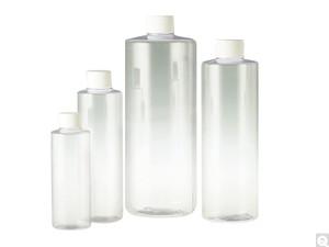 Clear PVC Cylinder Bottles, 16 oz, 28-410 White Foam Lined Caps, case/243