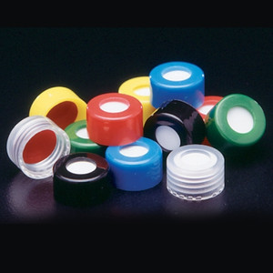 9mm Green Pre-assembled PP Open Top Screw Caps, PTFE/Red Rubber Septa, case/1000
