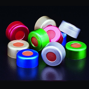 11mm Green Aluminum Crimp Seals with PTFE/Red Rubber Septa, case/1000