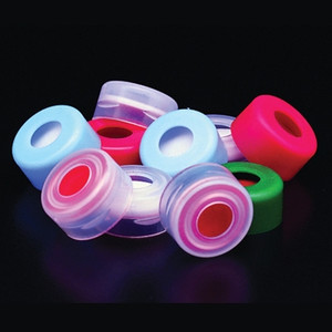 11mm Red LDPE Snap Top Cap with PTFE/Red Rubber Septa, case/1000