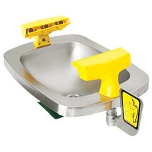 Eyewash Station, Wall Mount Paddle Activated, 6 Spray, Stainless Steel