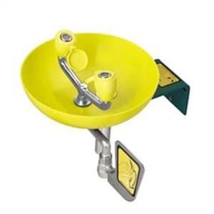 Safety Eyewash Station, Wall Mount, Yellow Plastic Bowl