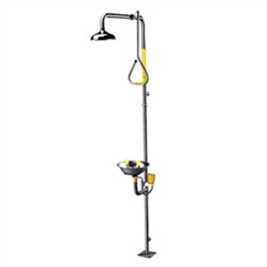Eyewash Safety Shower Combo, Stainless Steel, Pull Rod Activator