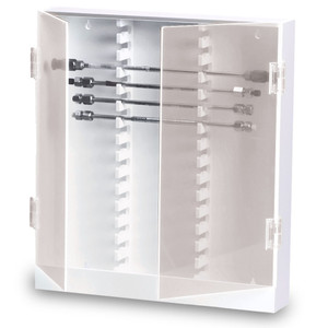 "Lab HPLC Column Storage Cabinet, 30 Slot, Locking Acrylic Door, 16"" x 17"" x 3"""