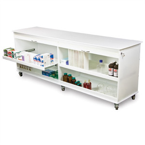 "Belize Lab Island 8 Foot Lab Cart, Locking, Roll Top Doors, 94"" x 34.5"" x 22.75"""